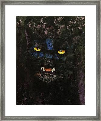 Black On Black Cat Framed Print