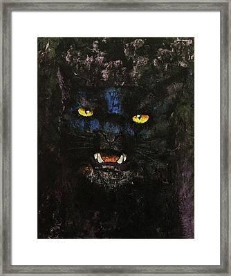 Black On Black Cat Framed Print