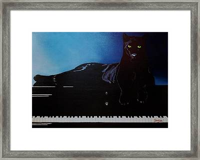 Black Panther And His Piano Framed Print by Manuel Sanchez