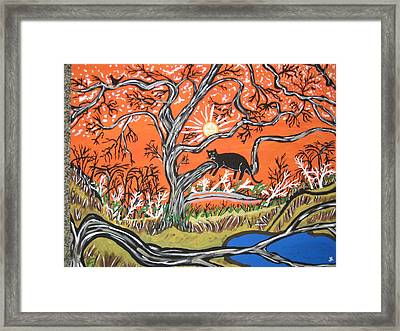 Framed Print featuring the painting Black Panther by Jeffrey Koss