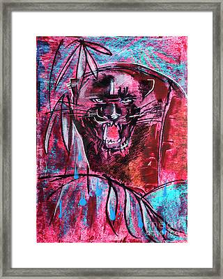 Framed Print featuring the drawing Black Panther,  Original Painting by Ariadna De Raadt