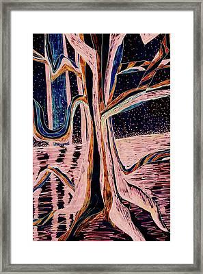 Black-peach Moonlight River Tree Framed Print