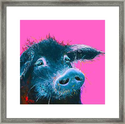 Black Pig Painting On Pink Background Framed Print by Jan Matson