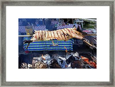 Framed Print featuring the photograph Black Pig Spit Roasted In Taiwan by Yali Shi