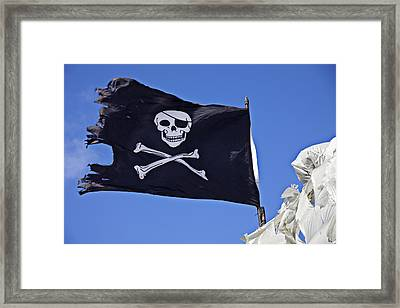 Black Pirate Flag  Framed Print by Garry Gay