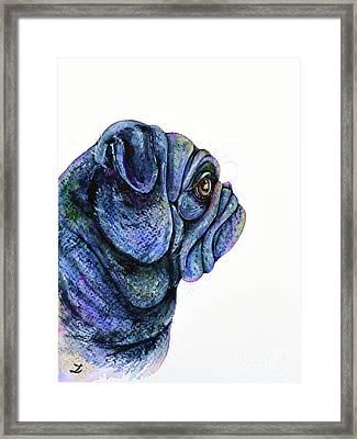 Framed Print featuring the painting Black Pug by Zaira Dzhaubaeva