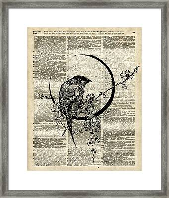 Black Raven Bird Framed Print by Jacob Kuch