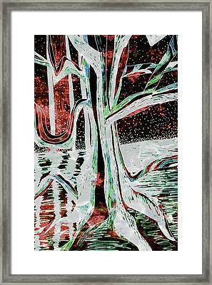 Black-red Moonlight River Tree Framed Print