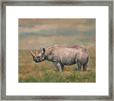 Black Rhino Framed Print by David Stribbling
