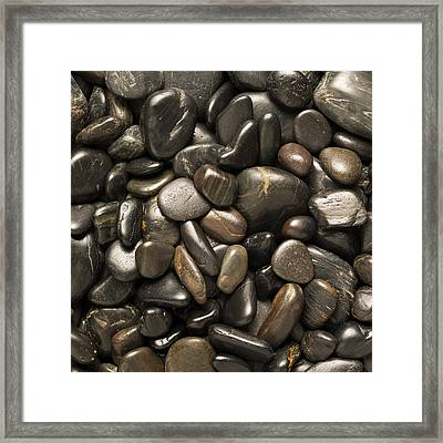 Black River Stones Square Framed Print by Steve Gadomski