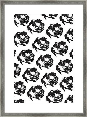 Black Rose Pattern Framed Print by Cortney Herron