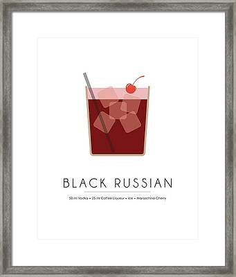 Black Russian Classic Cocktail - Minimalist Print Framed Print