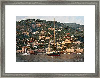Black Sailboat At Villefranche II Framed Print
