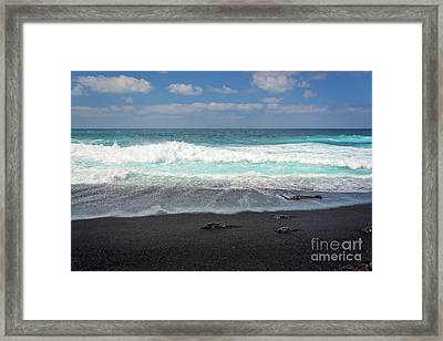 Black Sand Beach Framed Print by Delphimages Photo Creations