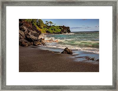 Framed Print featuring the photograph Black Sand Beach Maui by Shawn Everhart