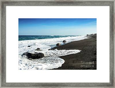 Black Sand Beach, Perissa Beach, Santorini, Greece Framed Print