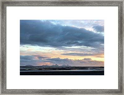 Framed Print featuring the photograph Black Sand Sunset Iceland by Brad Scott