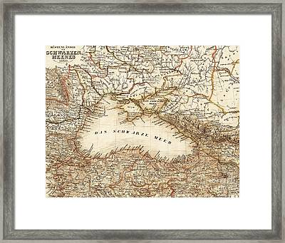 Black Sea Vintage Map Framed Print by ELITE IMAGE photography By Chad McDermott