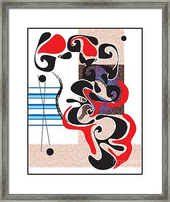 Framed Print featuring the digital art Black Shapes With Red by Christine Perry