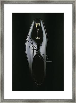 Black Shoe Framed Print by Francine Gourguechon