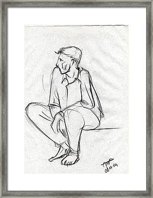 Black Sketch Of A Man Sitting And Waiting Framed Print by Makarand Joshi