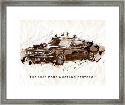 Black Stallion 1965 Ford Mustang Fastback #2 Framed Print