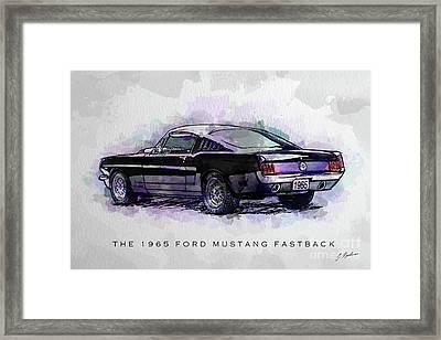 Black Stallion 1965 Ford Mustang Fastback Framed Print