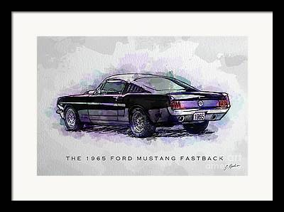 Ford Mustang Drawings Framed Prints