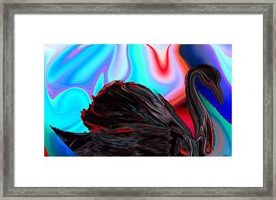 Black Swan Dreaming Of Romance Framed Print by Abstract Angel Artist Stephen K
