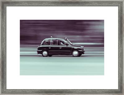 Black Taxi Bw Blur Framed Print