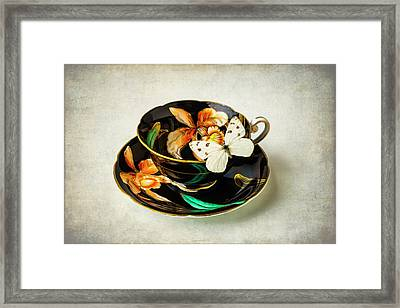 Black Tea Cup And White Butterfly Framed Print