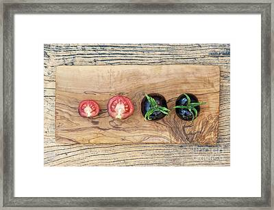 Black Tomatoes Indigo Rose Framed Print by Tim Gainey