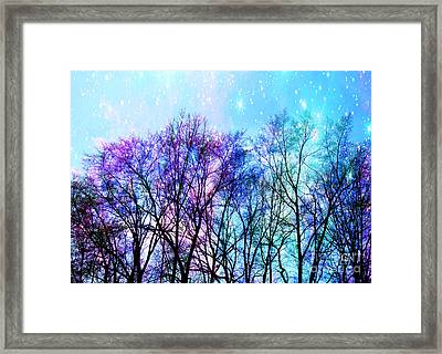 Black Trees Bright Pastel Space Framed Print by Johari Smith
