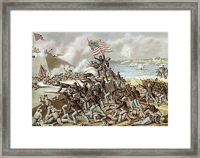 Black Troops Of The Fifty Fourth Massachusetts Regiment During The Assault Of Fort Wagner Framed Print by American School