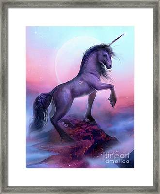 Black Unicorn Framed Print by Bente Schlick