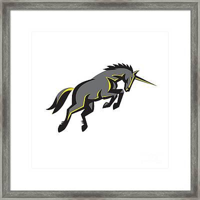 Black Unicorn Horse Charging Isolated Retro Framed Print by Aloysius Patrimonio