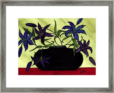 Black Vase With Lilies Framed Print by Stephanie  Jolley