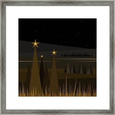 Black Velvet Sky - Black And Gold Framed Print by Val Arie