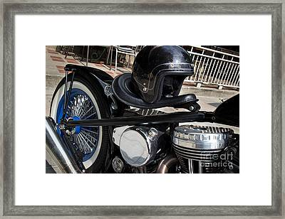 Black Vintage Style Motorcycle With Chrome And Black Helmet Framed Print