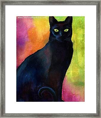 Black Watercolor Cat Painting By Framed Print
