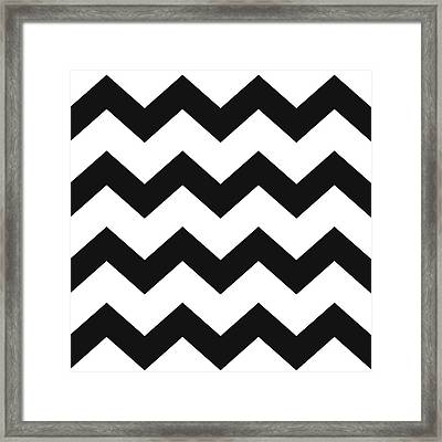 Framed Print featuring the mixed media Black White Geometric Pattern by Christina Rollo