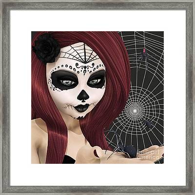 Black Widow Sugar Doll Framed Print by Methune Hively