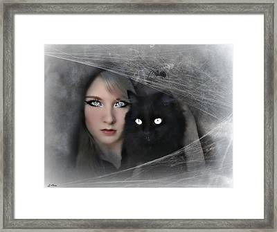 Black Witch Cat Framed Print by G Berry