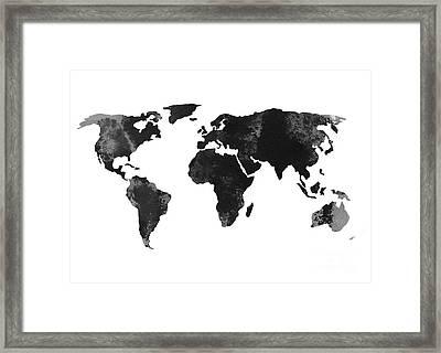 Black World Map Silhouette Framed Print