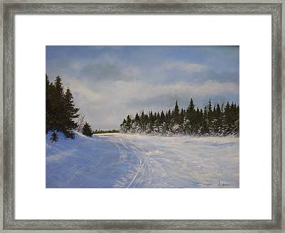 Framed Print featuring the painting Blackbear Ski Trail by Ken Ahlering