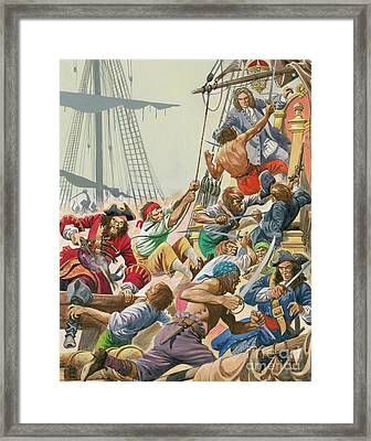 Blackbeard And His Pirates Attack Framed Print by Peter Jackson