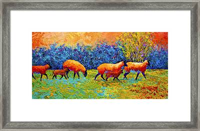 Blackberries And Sheep II Framed Print by Marion Rose