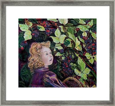 Blackberry Elf Framed Print by Susan Moore