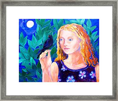 Blackbird Singing In The Dead Of Night  Framed Print by Trudi Doyle