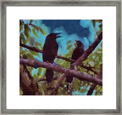 Blackbirds Singing Framed Print